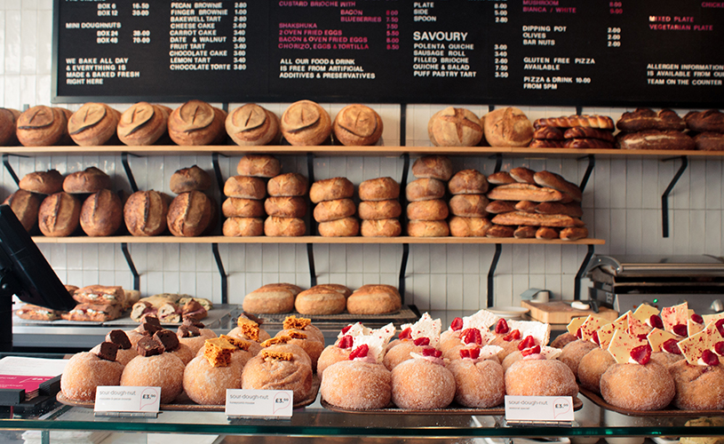 Doughnuts and bread on display at Pinkmans Bakery