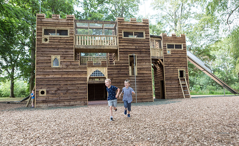 Kids playing in the adventure playground at Sudeley Castle