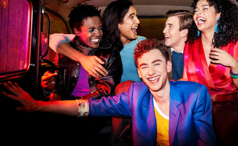 Channel 4's It's A Sin cast in the back of a taxi