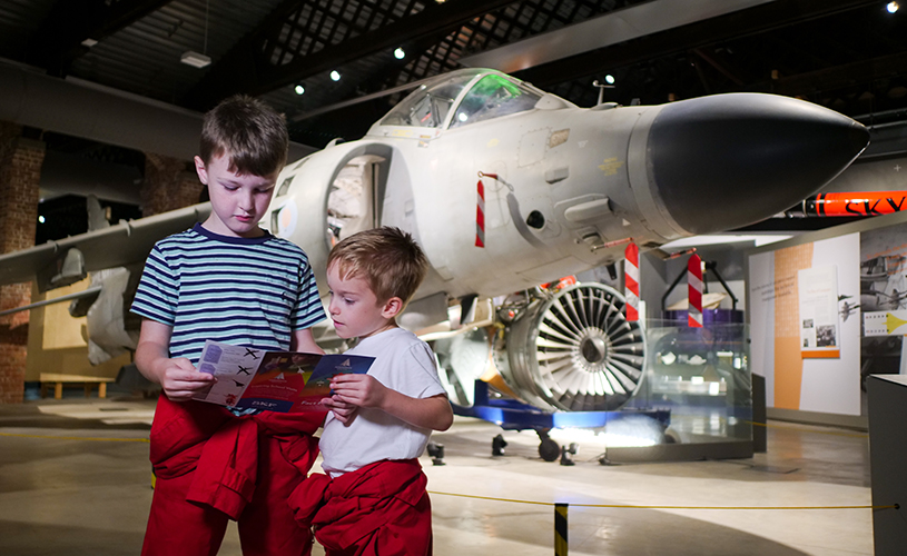 Kids in front of Concorde at Aerospace Bristol