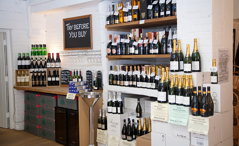 Wines on display at Averys Wine Merchants
