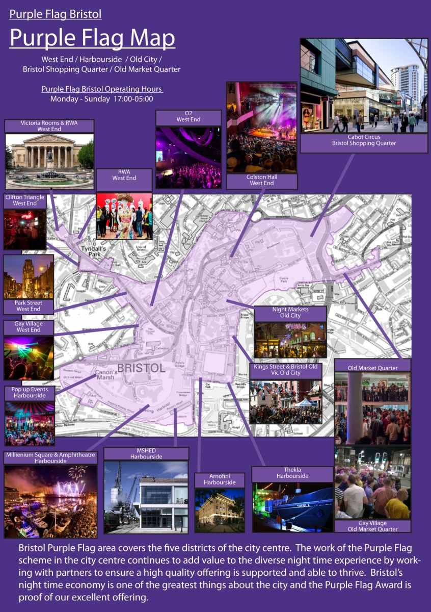 Bristol Purple Flag Map