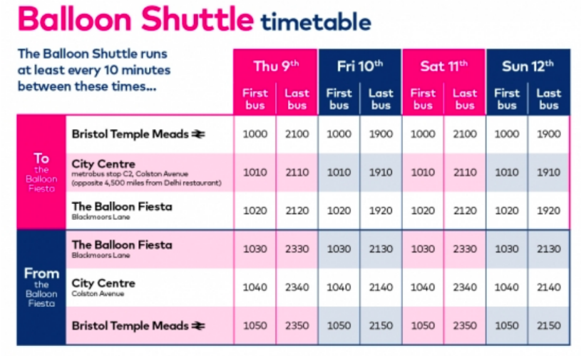 First bus balloon shuttle timetable