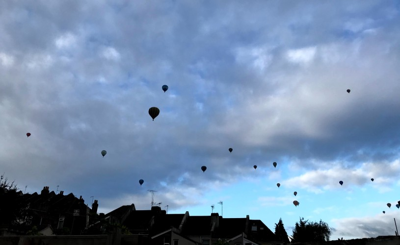Balloons over the houses of Bristol