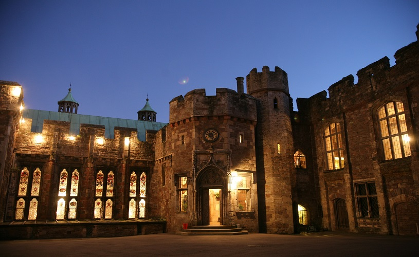 Berkeley Castle lit up at night