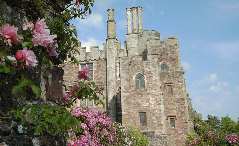 Berkeley Castle, with blossoms in the foreground.