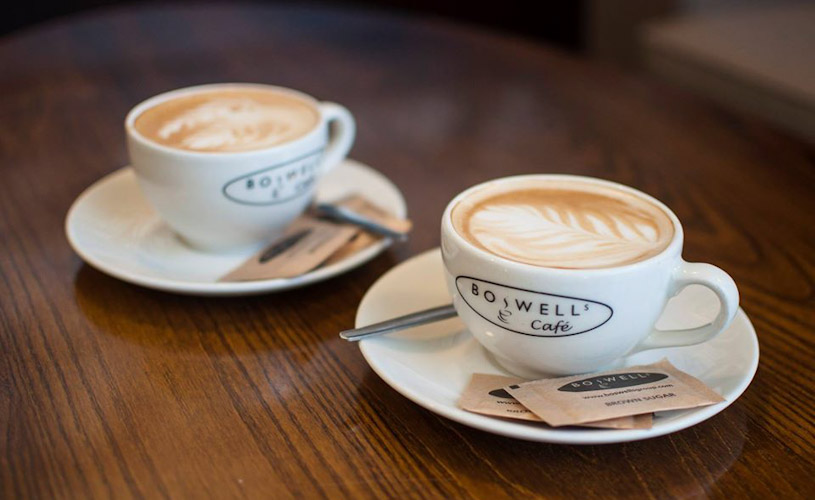 Two coffees from Boswells Cafe