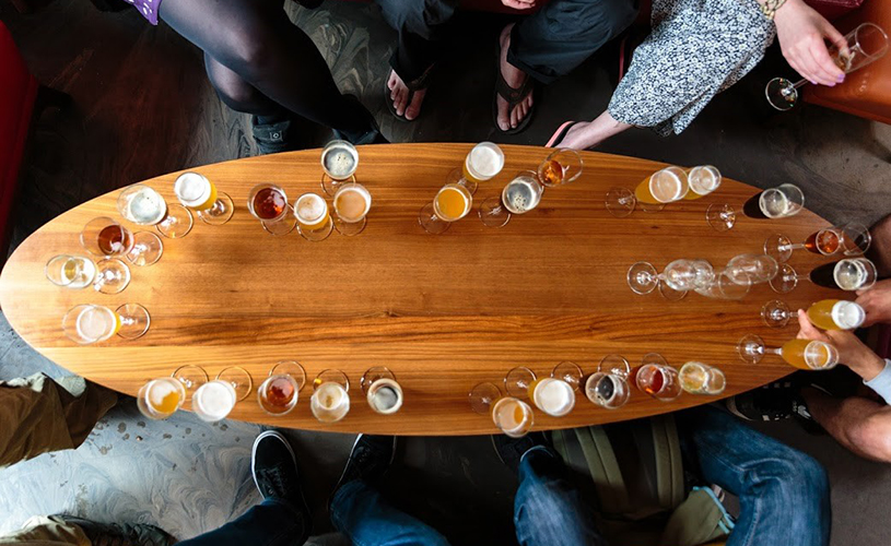 Birds-eye view of beers on a Bristol Hoppers tour