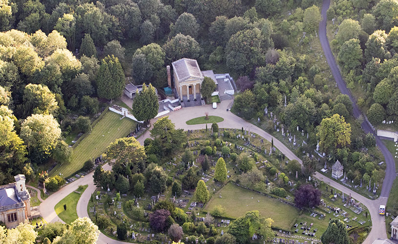 Aerial view of Arnos Vale Cemetery