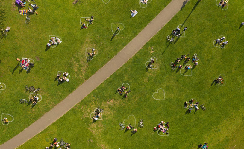 Aerial view of hearts in Bristol's Castle Park