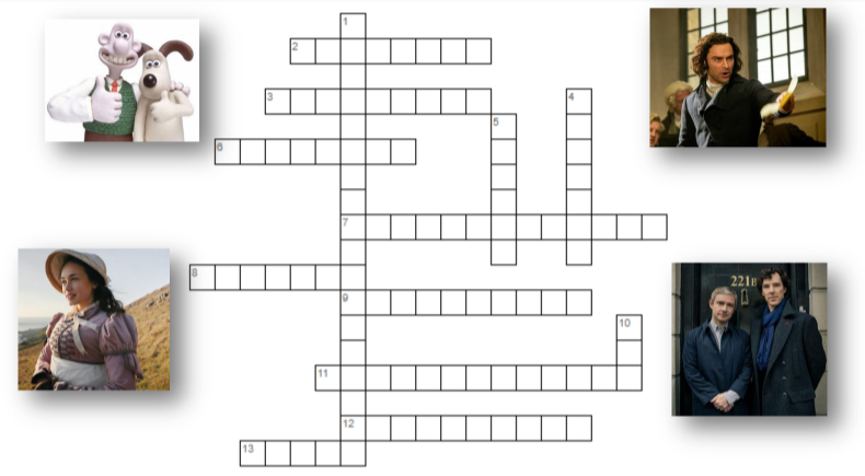 Blank crossword layout surrounded by stills from TV shows