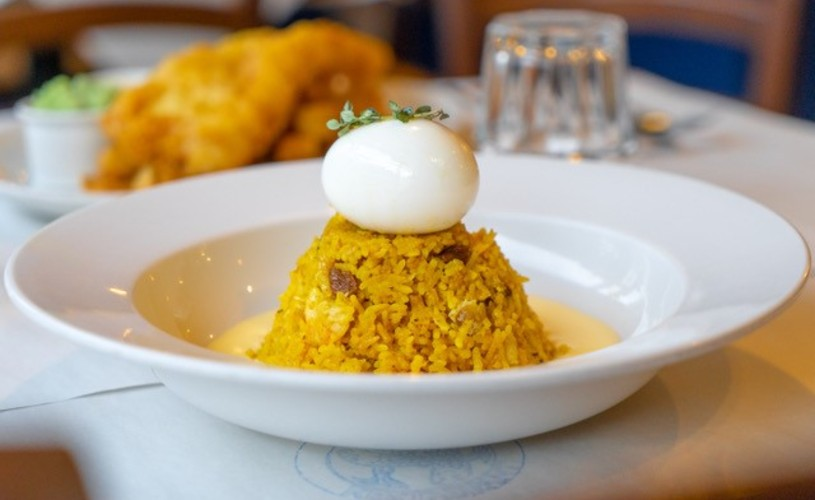 Kedgeree with lemon butter sauce from Fishers