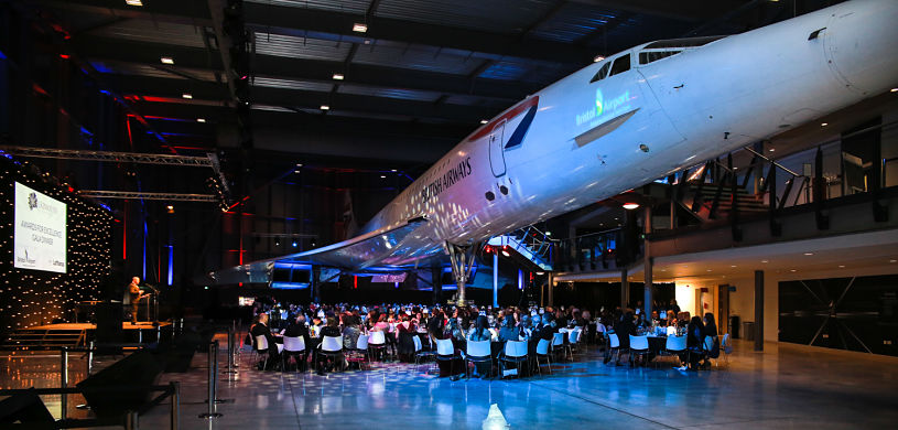 Gala dinner under Concorde at Aerospace Bristol