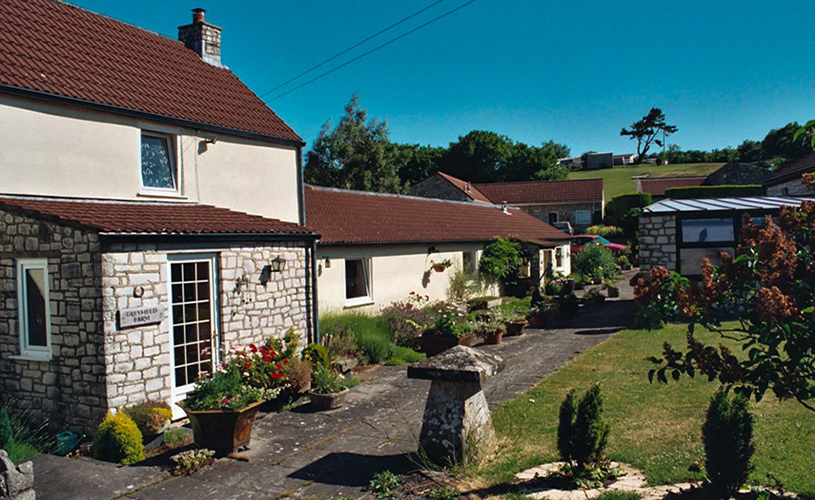 Exterior and front garden of Greyfield Farm Cottages near Bristol
