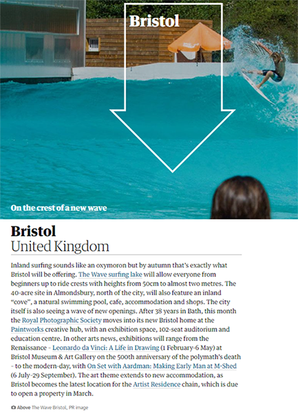 Bristol section in clipping from Guardian 'Where to go on holiday in 2019' article