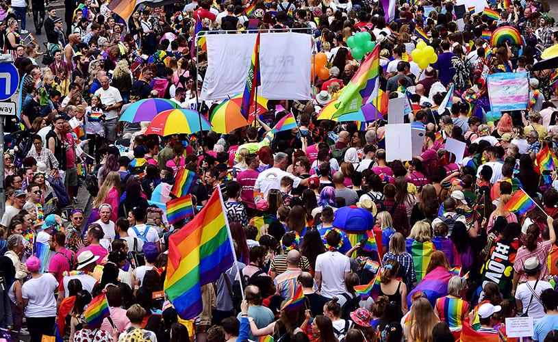 Aerial view of Bristol Pride parade
