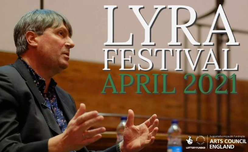 Simon Armitage speaking at poetry festival, text saying 'Lyra Festival April 2021'