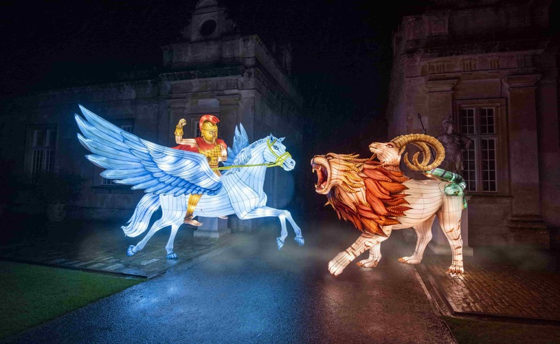 Pegasus & the Chimera lanterns at Longleat's Festival of Light