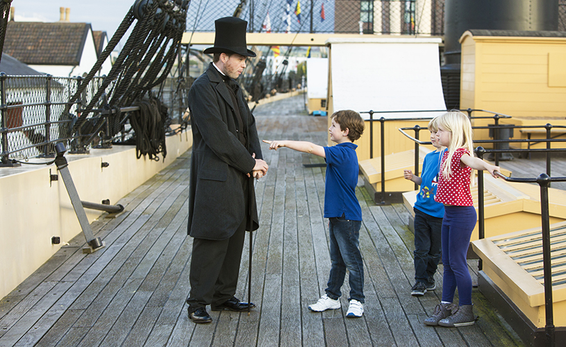 Mr Brunel on the weather deck at SS Great Britain