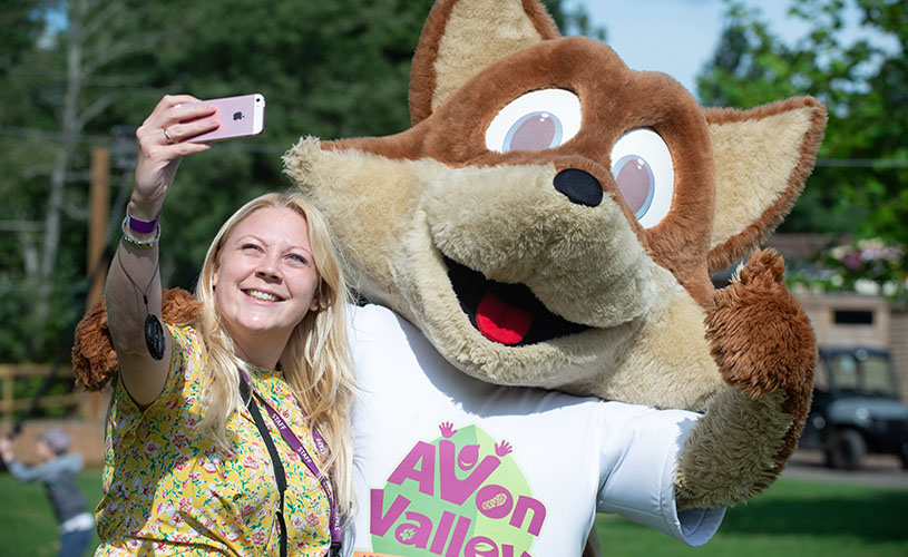 Selfie with mascot at Avon Valley Adventure and Wildlife Park