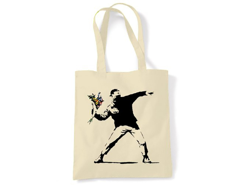 Banksy Flower Thrower Tote Bag