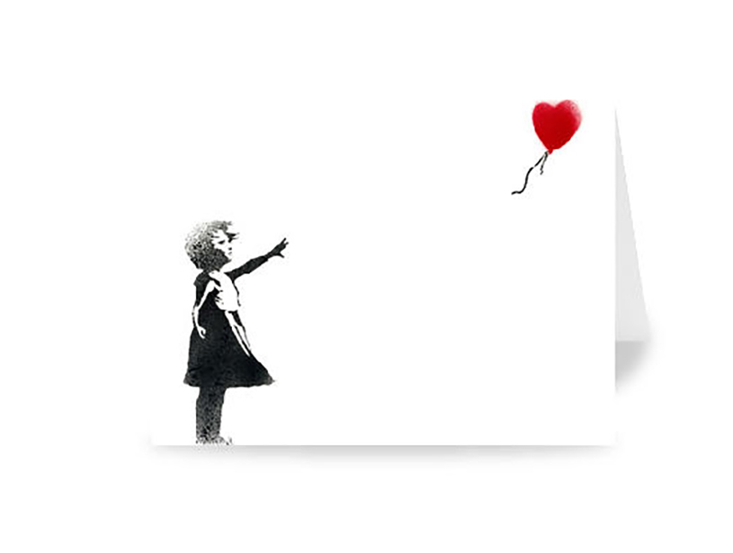 Banksy Heart Balloon Greeting Card