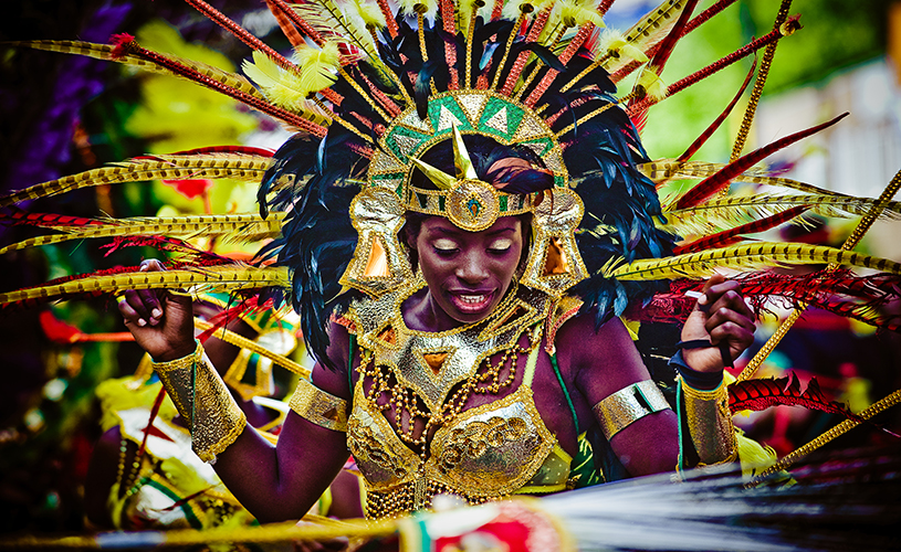 Woman in carnival outfit at St Pauls Carnival, Bristol