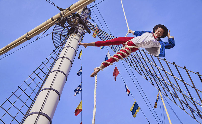 Performer from the Invisible Circus on Brunel's SS Great Britain