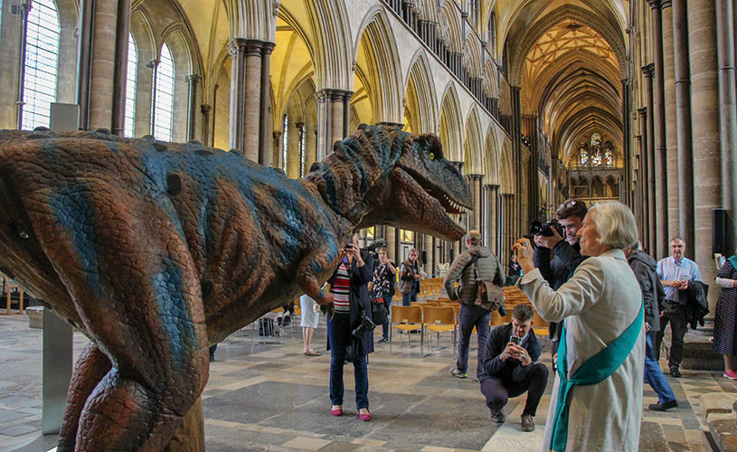 T Rex at Salisbury Cathedral's Jurassic Weekend event