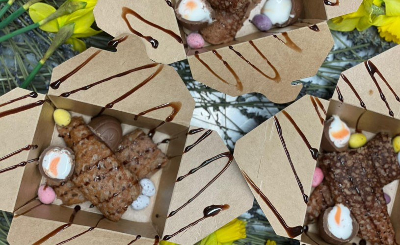 Chocolate Creme Egg hoppers in taekaway boxes from The Coconut Tree
