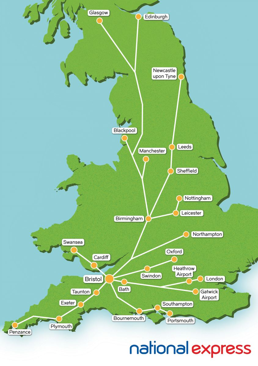 National Express Map National Express to Bristol   VisitBristol.co.uk National Express Map