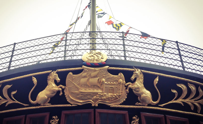 Gilt unicorns on Brunel's ss Great Britain in Bristol