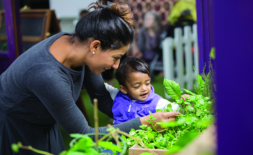 Mum and toddler in the Greenhouse at We The Curious