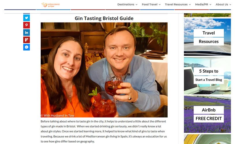 With Husband in Tow: Bristol Gin Guide. February Media Report