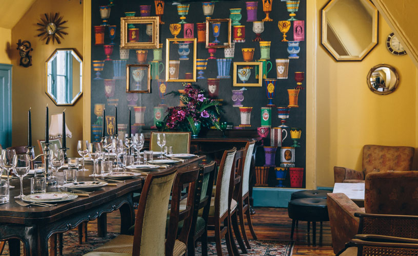 Colourful private dining room at the Milk Thistle