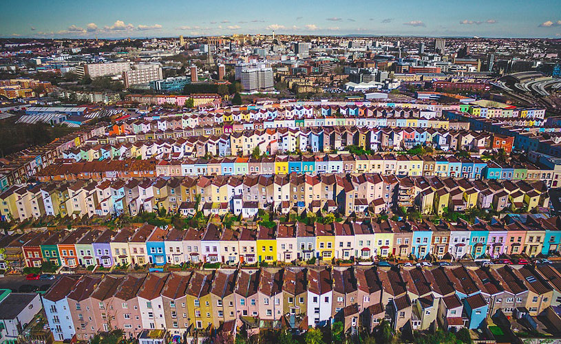 Bristol's colourful houses from above