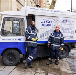 Street cleaners with milk float for Bristol City Centre Business Improvement District
