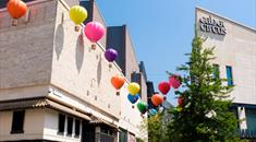 Colourful balloons outside Cabot Circus in summer