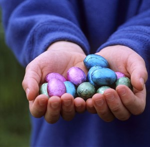 Easter in Bristol - National Trust Tyntesfield Egg Hunt. Hands holding Easter eggs.