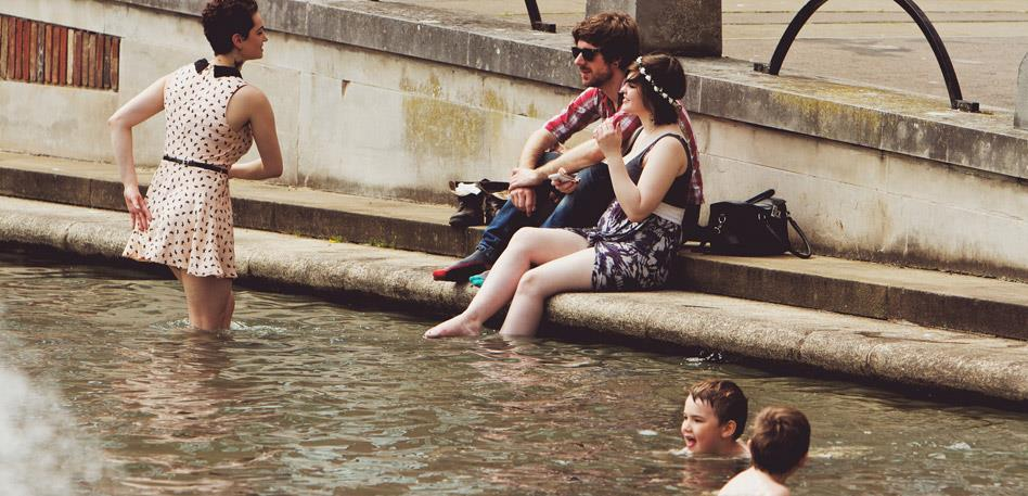 Cooling off in College Green - Image Tom Glendinning