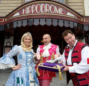 Cast of Cinderella outside The Hippodrome Bristol