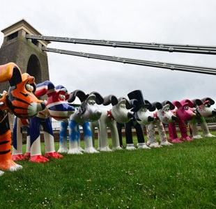 Gromit Unleashed statues with Clifton Suspension Bridge