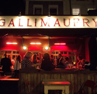 People socialising outside the Gallimaufry