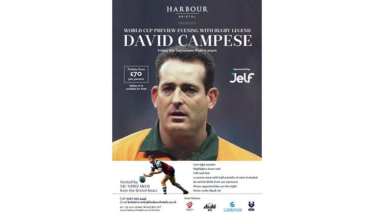 World Cup Preview Evening With Rugby Legend David Campese at Harbour Hotel Bristol