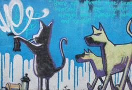 Banksy Graffiti Cat and Dog